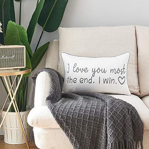 Sunkifover Love You Most The End I Win - Funda de almohada lumbar decorativa para cama, funda de cojín bordada, 30,5 x 50,8 cm.