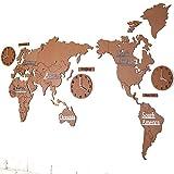 Benfa Reloj De Pared Creativo De Moda Mapamundi De Madera 3D Europeo Sala De Estar Grande Dormitorio De Oficina Reloj De Etiqueta De Pared Decorativo (Longitud 220Cm * Altura 105Cm),#1,A