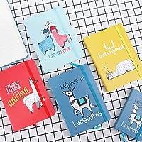 漫画のノート、小学生のメモ帳、事務用品、かわいい宿題の本a5ノートハンドブック4パッ,かわいいアルパカ,A5 4色を均一に混合