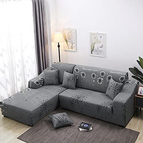 Funda Sofa 1 Plaza Diente De León Gris Fundas para Sofa con Diseño Elegante Universal,Cubre Sofa Ajustables,Fundas Sofa Elasticas,Funda de Sofa Chaise Longue,Protector Cubierta para Sofá