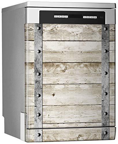 Megadecor decoratief vinyl voor vaatwasser, afmetingen standaard: 67 cm x 76 cm, houten planken, licht met geschroefde metalen strips