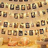 QWE Clips de LED Foto Cadena Lámpara- 40 Fotos Plug and Play Hada centelleo Enciende, la Boda del Partido de Navidad Decoración Luces for Colgar Fotos, Tarjetas y Ilustraciones, Blanco cálido
