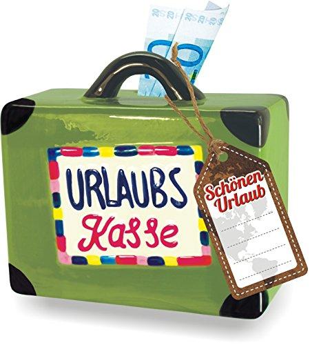 Hucha maletín 15 cm vacaciones – Caja para dinero vacaciones Dinero para la luna de miel Viaje – Caja registradora – Hucha bajo calcetín Viaje Vacaciones sparbuch deseos de vacaciones cerámica vidriada: