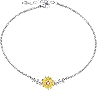 Sterling Silver Sunflower with CZ Warmth Sunshine Jewelry Y Pendant Necklace or Bracelet Anklet for Women
