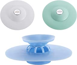 Huanlemai 3pcs Shower Drain Stopper & Strainers Deodorizer Plug Hot Bathtub Cover Silicone Protectors Good Grips Hair Catchers for Floor, Laundry, Kitchen and Bathroom, 2 in 1 Stop & Filters