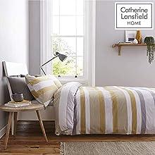 Catherine Lansfield Newquay - Juego de Funda nórdica para Cama Individual, diseño de Rayas, Color Ocre