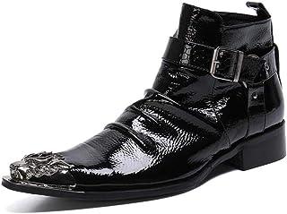 YOWAX Zapatos de Cuero Botas de Cuero con Puntera metálica de Empalme Manera de los Hombres para, Fiesta, Zapato de Cuero ...