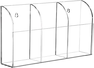 Organizador de almacenamiento de 3 compartimentos, de acrílico transparente, para montar en la pared, suministros de ofici...