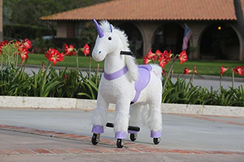 Medallion - My Pony Ride On Real Walking Horse for Children 3 to 6 Years Old or Up to 65 Pounds (Color Small Purple Unicorn)