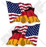 USA Vereinigte Staaten von Amerika und DEUTSCHLAND, Amerikanisch und Deutsche Wehende Flagge, Fahne 120mm Auto & Motorrad Aufkleber, x2 Vinyl Stickers (Links - Rechts)