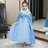 GJBXP 2019 nuevo suéter de invierno de manga larga Elsa Ann vestidos de princesa Cosplay Vestidos de bebé Conjunto de cumpleaños de Navidad para niños Ropa M vestido azul y capa