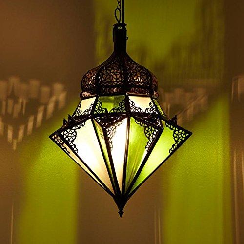 Casa Moro Orientalische Hängelampe marokkanische Lampe Jawhara Grün Weiß H 45 cm Ø 40 cm aus Metall & Glas | Kunsthandwerk aus Marrakesch | L1280