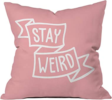 Crazy Corner Stay Weird Quote Printed Cushion Cover | Pillow Cover | Cushion Cover for Girls | Gift for Girls (Size - 24x24 I