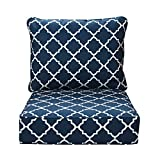 IN4 Care Outdoor Patio Deep Seat Cushions and Back, All Weather Large Size Replacement Cushion for Patio Chair Furniture, 24' x 24' x 6' -Geometry Navy