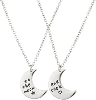 Lux to The Moon & Back BFF Star Crescent Celestial Valentine Heart Best Friends Forever Necklace Set 2PC