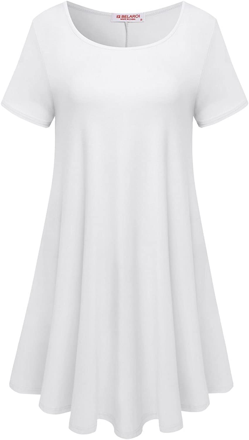 BELAROI Womens Comfy Swing Tunic Short Sleeve Solid TShirt Dress