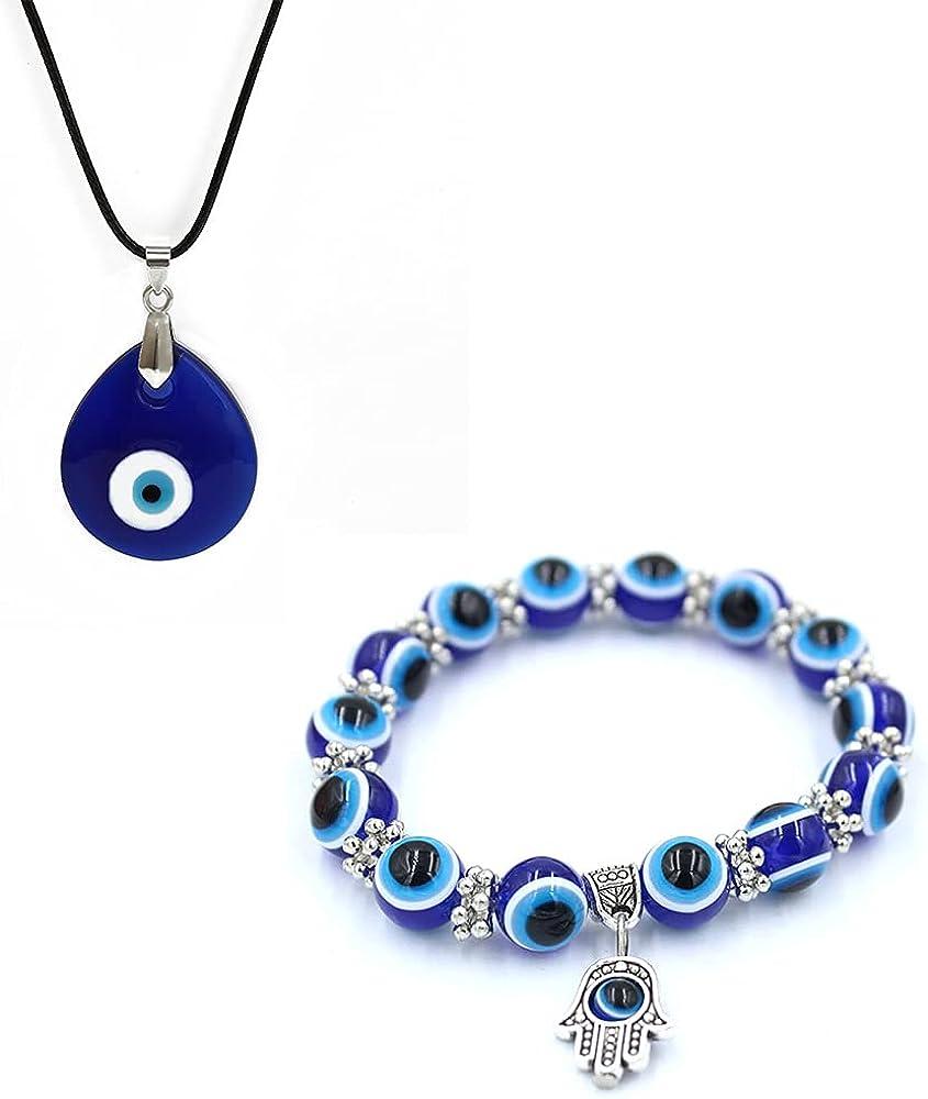 2 Pcs Blue Devil Eyes Jewelry Set for Women Girls Luck Huuman Eyes Glass Necklace Resin Adjustable Elastic Bracelet