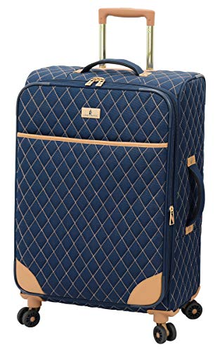 LONDON FOG Queensbury Softside Spinner Luggage, Navy, Checked-Medium 24-Inch