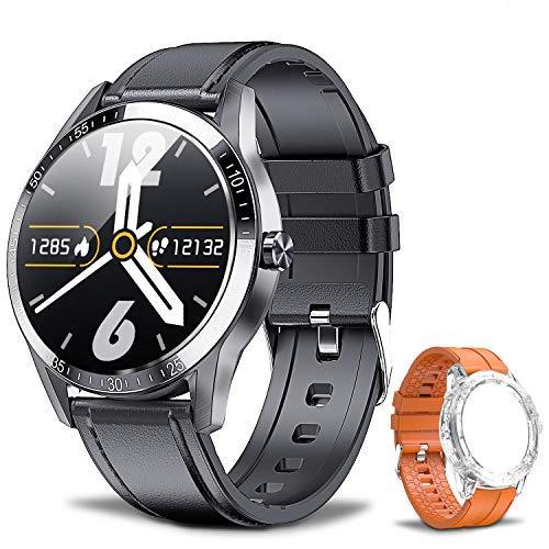 Smartwatch Fitness Tracker Orologio IP68 Orologio Intelligente Impermeabile, Telefono Bluetooth,Cardiofrequenzimetro, Monitor del Sonno, Contapassi da Polso, Sport Smartwatch per Android IOS(Nero)