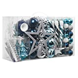 Valery Madelyn 100ct Winter Wishes Christmas Ball Ornaments Assorted Blue Silver with Tree Topper, Shatterproof Christmas Tree Ornaments Bulk Decoration Xmas Home Decor