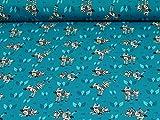 Jersey von Hilco, Zebras, blau (Meterware ab 25cm x 150cm)