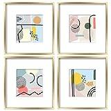 ArtbyHannah - Juego de 4 marcos de fotos (4 unidades, 30,4 x 30,4 cm), diseño abstracto geométrico moderno, con alfombrilla para guardería o decoración del hogar