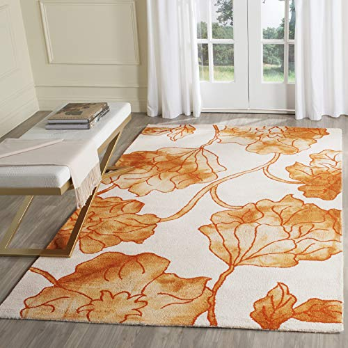 Safavieh Dip Dye Collection DDY683A Handmade Modern Floral Watercolor Ivory and Orange Wool Area Rug (3' x 5')
