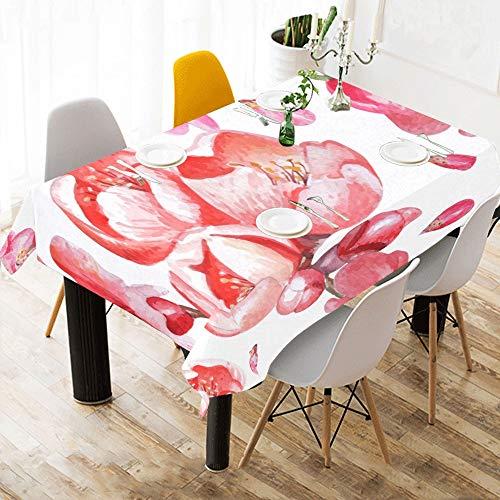 Enhusk Primer cumpleanos Pano de Mesa Flor de Granada Estampado de algodon Rosa Manteles de Mesa Cubierta de Tela Mantel para Cocina Comedor Decoracion 60 x 84 Pulgadas Ropa de Mesa Grande