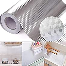 PINK PARI (LABEL) 2 m Aluminium Foil Stickers, Oil Proof , Kitchen Backsplash Wallpaper Self-Adhesive Wall Sticker Anti-Mold and Heat Resistant for Walls Cabinets Drawers and Shelves