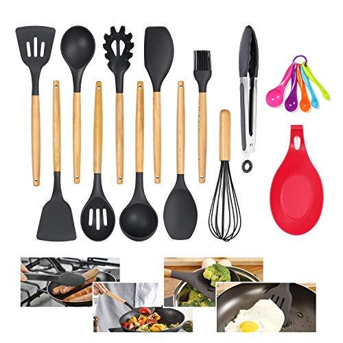 penobon Utensilios Cocina de Silicona, 11 Piezas Antiadherente Utensilios Cocina con Mango de bambú, Regalo para 5 Cucharas Medidoras y Silicona Cuchara Resto