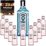 Gintonic - Bombay Sapphire Gin 40 ° + 9London Esencia 'White Peach & Jasmin' - (70cl 20cl + 9 *) + 15 Pot rodajas de pomelo deshidratado.