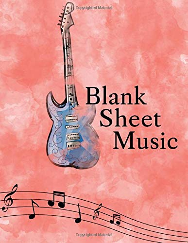 Blank Sheet Music: Songwriting Journal - Sheet Music Composition Notebook Combined with Lined Pages for Song Lyrics - Additional Pages for Notes - 8.5 x 11' -  130 pages - Watercolor Electric Guitar