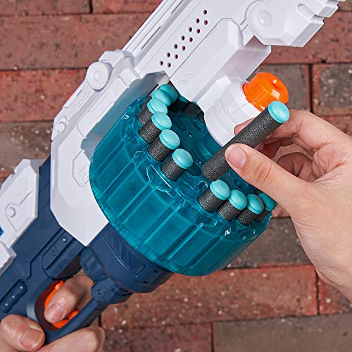 ZURU X-SHOT 36350 Excel Turbo Fire Foam Dart Blaster, Grey/Blue-Plain Brown Box, One Size