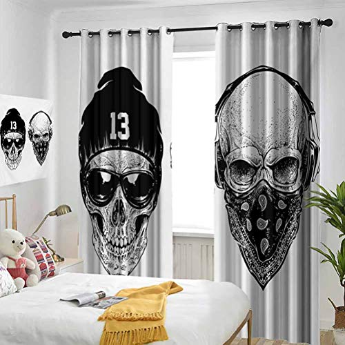 Skull for Bedroom-Grommet Insulation Room Funny Skull Band Dead Street Gangs with Bandanna Hood Rapper Style Grunge Print Patterned Curtains in The Living Room 2 Panels per Group W96 x L108 Inch Blac