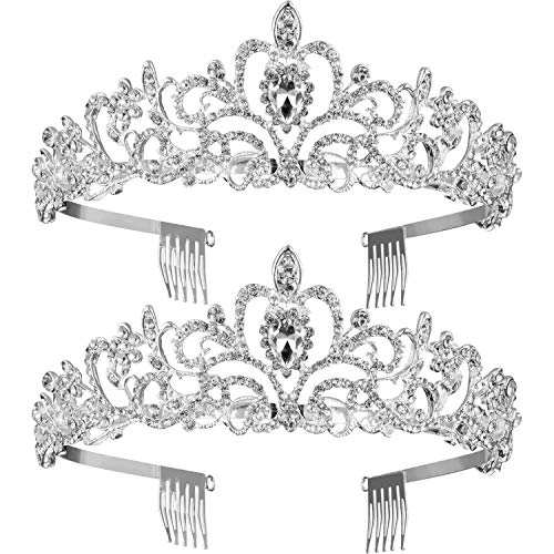 2 Pack Tiara Princess Crown Girls Rhinestones Crystal Wedding Bridal Crown Tiara with Comb Women Princess Crown Headband (Style 1)