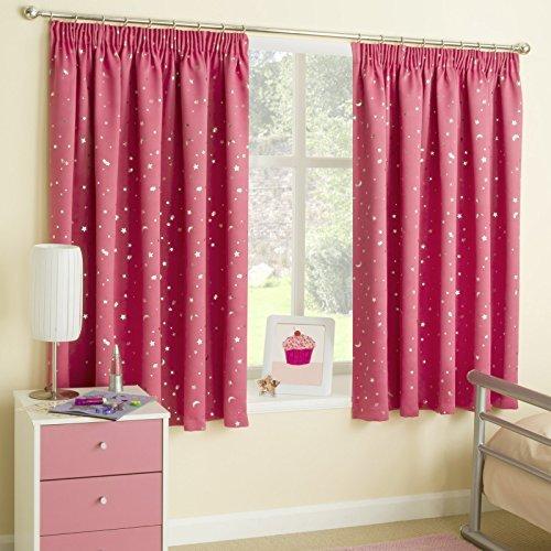 Paire de rideaux prêts à poser qui réduit la lumière thermique, en lunes roses et étoiles, bande supérieure 167,6 cm de large x 137,2 cm de hauteur