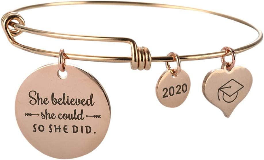 GorNorriss 2020 Graduation Gift Lettering Bracelet Bangle Student Friendship Bracelet Gift, Inspirational Gifts for Women Men Girls Daughter