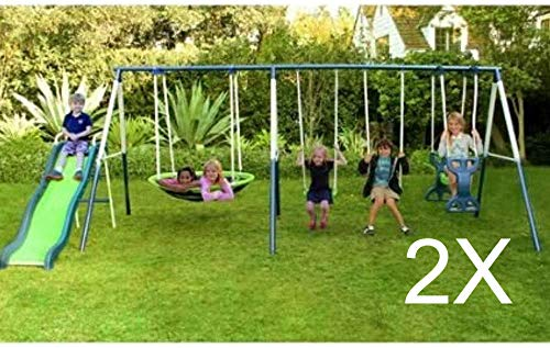 Set of 2 SKROUTZ Metal Swing Set with Slide for Backyard Outdoor Kids Fun Play Durable Construction...