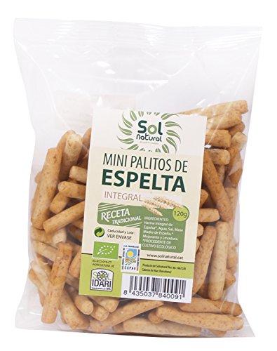 Sol Natural Mini Palitos de Espelta Integral - Paquete de 18 x 120 gr - Total: 2160 gr