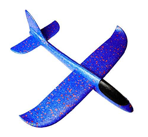 Eva Shop® Wurfgleiter, Freiflugmodell, Segelflugzeug, Styroporflieger für Kinder, Outdoor-Sports Spielzeug, großes Flugzeug aus Fast unzerstörbarem EPP - In den Farben Blau, Rot und Orange (Blau)