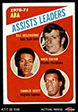 1971 Topps # 151 ABA Assists Leaders Bill Melchionni/Charlie Scott/Mack Calvin New Jersey/Miami/Virginia Nets/Floridians/Squires (Basketball Card) Dean's Cards 8 - NM/MT Nets/Floridians/Squires