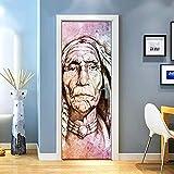 KEXIU 3D Indios pintados PVC fotografía adhesivo vinilo puerta pegatina cocina baño decoración mural 77x200cm