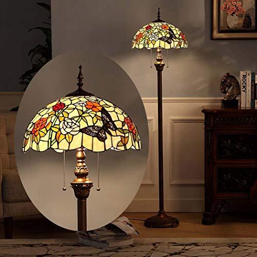 Yjmgrowing Tiffany stijl 16-inch vloerlamp voor woonkamer gebrandschilderd glas vloer staande licht armatuur in handgemaakte pastorale slaapkamer studie kamer kunst verlichting, 110-240V, E27(40×160cm)