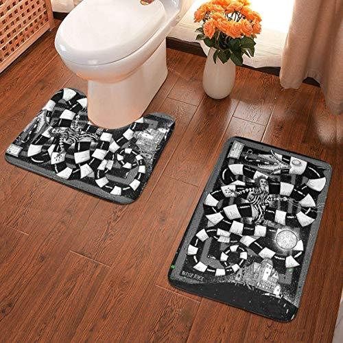 Leila Marcus Juego de 2 alfombras de baño Bee-tle Ju-ice, alfombrilla de contorno, cubierta para tapa de inodoro, antideslizante, absorbente, súper acogedor, 40 x 60 cm