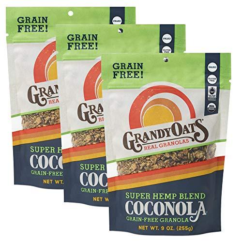 GrandyOats Super Hemp Blend Coconola Gluten Free Granola - Certified Organic, Non-GMO, Grain Free, Paleo Friendly, Low Carb and Low Sugar, 9oz Bags, Bulk Pack of 3
