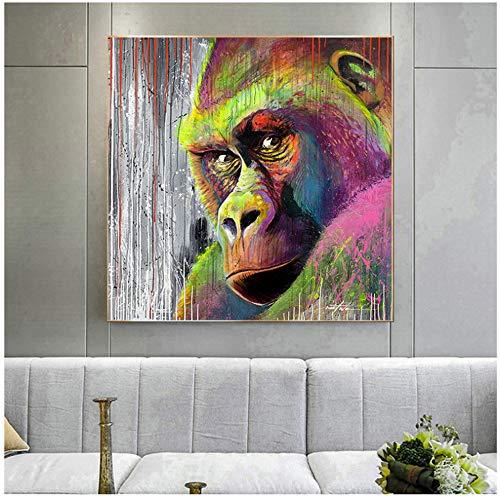 HSFFBHFBH Leinwand Malerei Moderne Bunte Gorilla Farbe Kunst AFFE Wandkunst Bild Drucke für Wohnzimmer Dekoration 60x60 cm (23,6