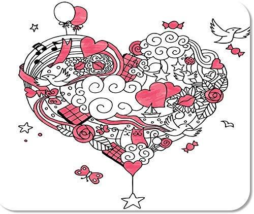 Emonye rutschfestes Mauspad für Computer, Büro, rotes Herz, Liebe, Kritzeleien, keine Farbverläufe, abstrakter Ballon, Vogel, schwarz, Boot, Süßigkeiten, Schule, Spiele, Computer, Arbeiter, 25 x 30 cm