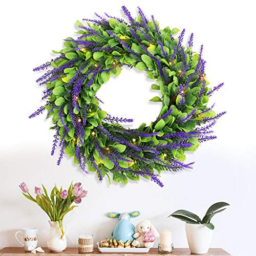Remon Artificial Lavender Wreath, 16 Inch Lighted Wreaths with 30 Pre-Strung Warm White LED Lights, Battery Operated Pre-lit Spring Wreaths for Front Door/ Wall/ Window/ Party Decor (2 Ways to Use)