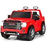 Costzon 2 Seater Ride on Truck, 12V Licensed Battery Powered Car w/ 2.4G Remote Control, LED Lights, Horn, Music, MP3/USB, Storage Box, Spring Suspension, Electric Vehicle for Kids (Red)