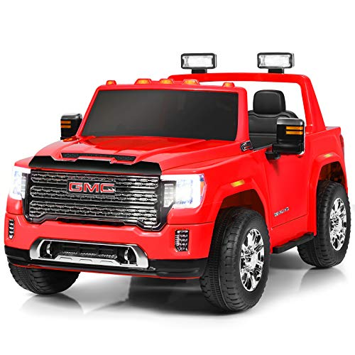 Costzon 2 Seater Ride on Truck, 12V Licensed GMC Battery Powered Car w/ 2.4G Remote Control, LED Lights, Horn, Music, MP3/USB, Storage Box, Spring Suspension, Electric Vehicle for Kids (Red)